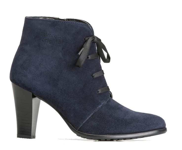 Palmroth high heel ankle boot navy suede
