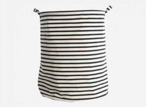 House+Doctor+skittentøyspose+i+svart/hvite+striper.+dia.:+40+cm,+h.:+50+cm,+37,5%+bomuld/40,4%+polyester/22,1%+rayon