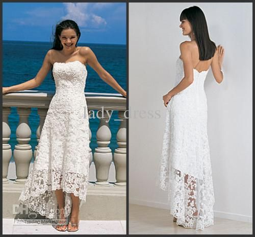 Wholesale Hot Sales Lace Short Front Long Back White Casual Beach Wedding Dress 2012 Customes, Free shipping, $106.4-117.6/Piece | DHgate