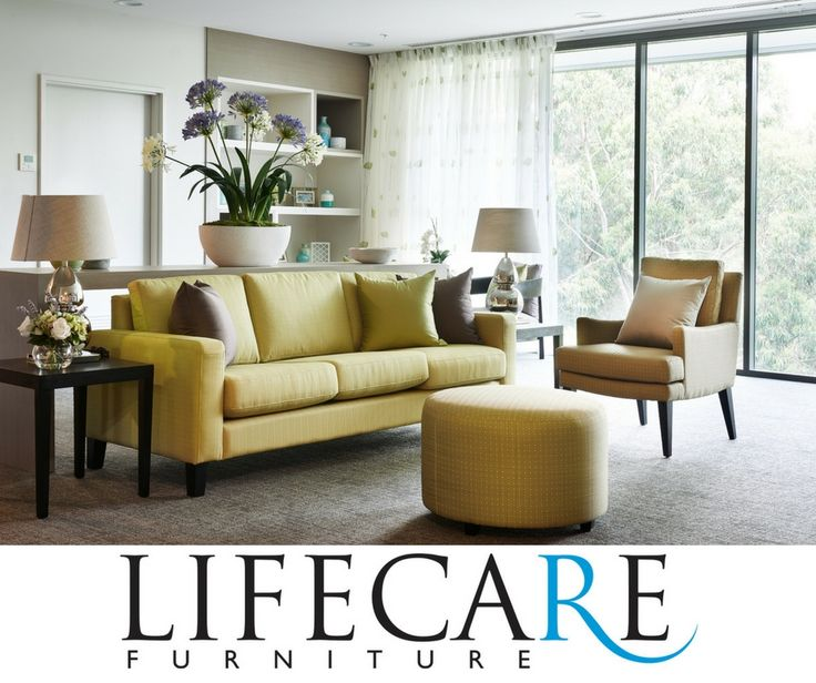 Aged Care project by Lifecare Furniture including Bond sofa, Sasha chair and Ottoman. #agedcare #design #armchair #furniture www.lifecarefurniture.com.au