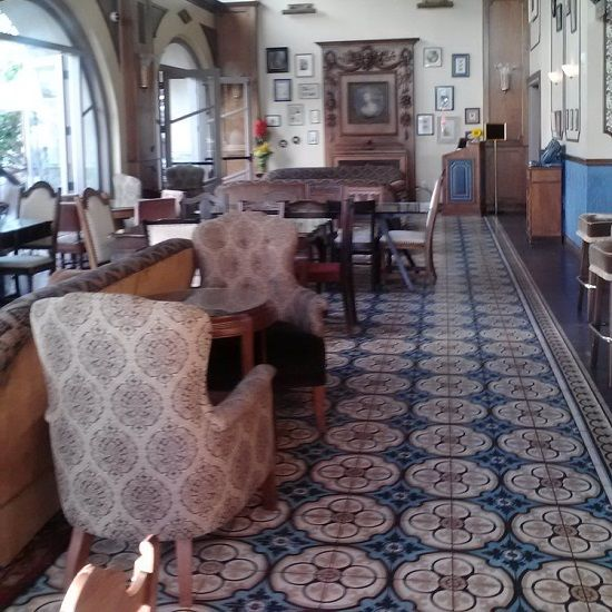 The Main Dining Hall At Perch Features A Classic Cement Tile Rug That Runs Expanse