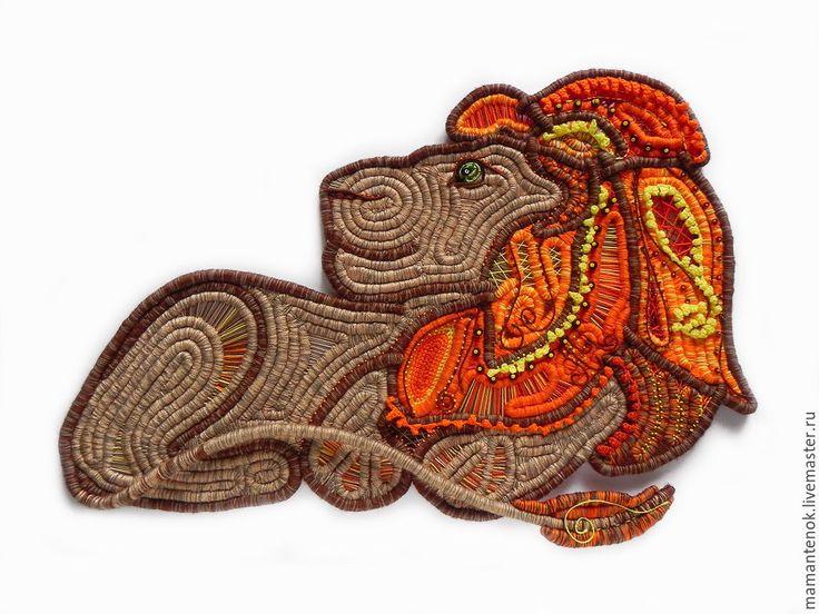 Купить Лев - рыжий, лев, панно со львом, знаки зодиака, пряжа, проволока, бисер