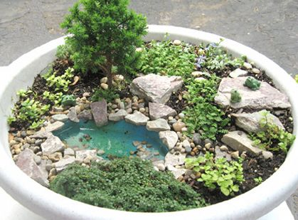 miniature fairy garden. great tips, such as, using small pea gravel for better drainage in the bottom of the pot and using a birdbath as a fairy garden. // thenester