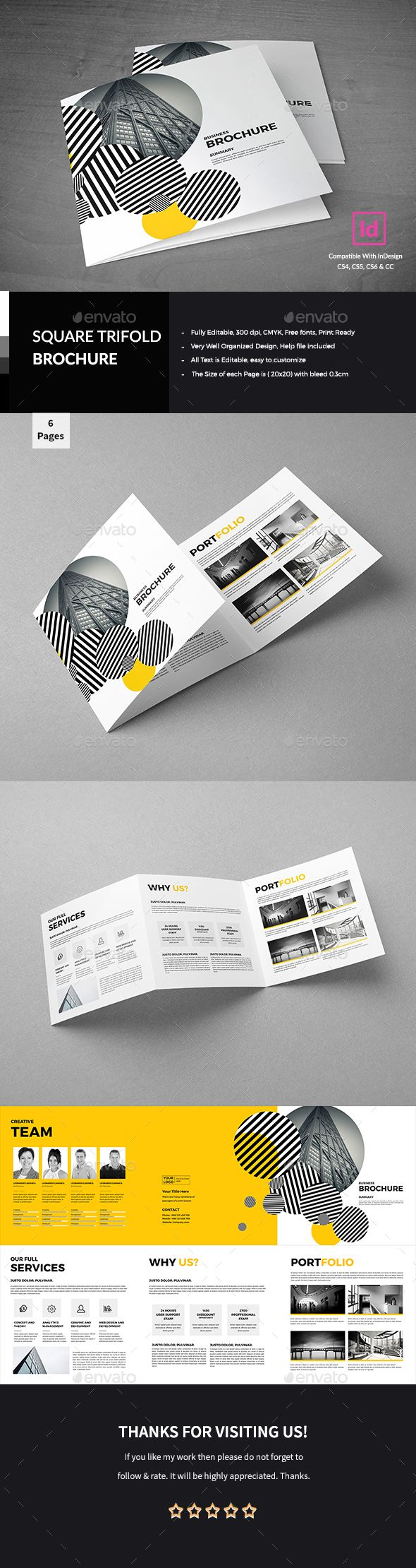 Corporate Square Trifold Brochure Template InDesign INDD