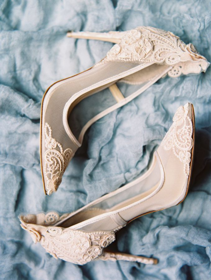 Blush lace pointed toe pumps: http://www.stylemepretty.com/texas-weddings/dallas/2017/01/18/wedding-inspiration/ Photography: Charla Storey - http://www.charlastorey.com/