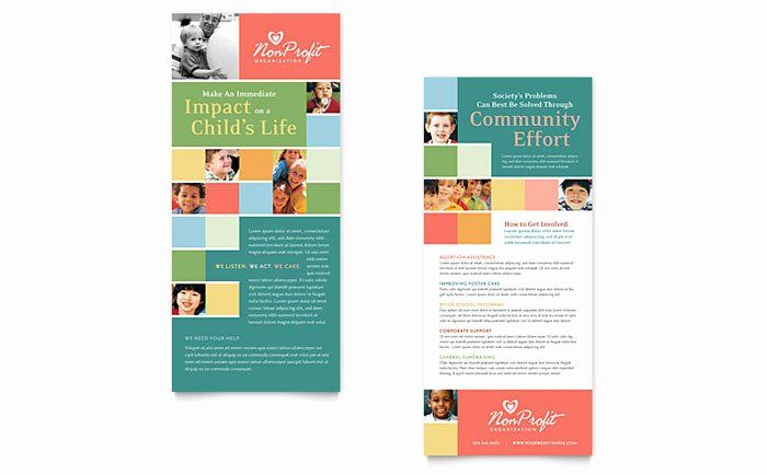 Free Rack Card Template Awesome Non Profit Association For Children Rack Card Template Design Rack Cards Design Rack Card Templates Rack Card