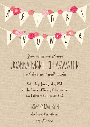 Rustic Banner Bridal Shower Invitation Pinterest Invitations And