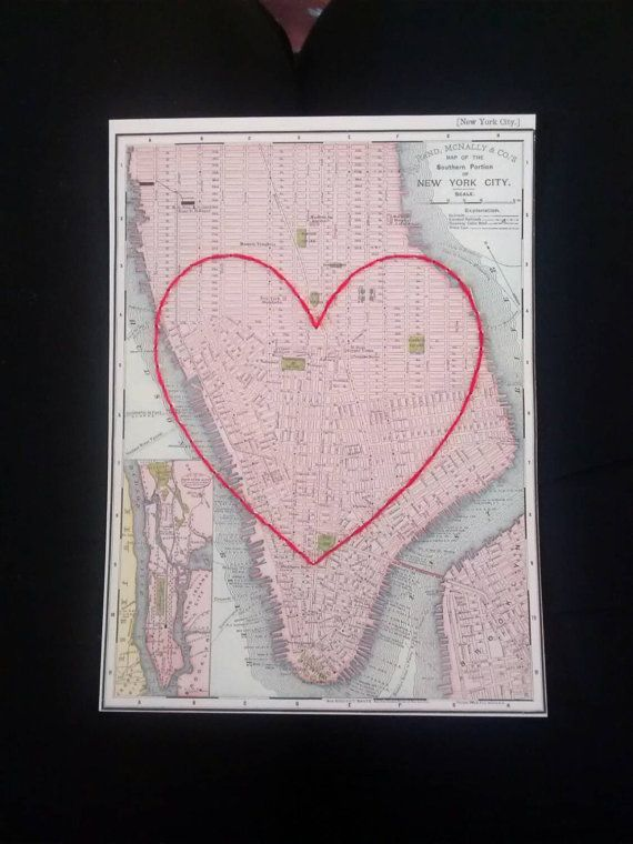 Heart embroidery over map of New York City. Love heart embroidered over Manhattan postcard. Personalised map locations.