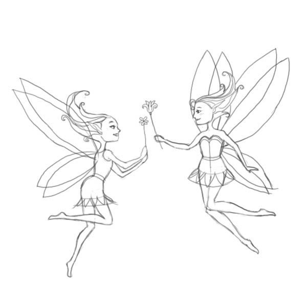 how to draw a cartoon fairy step by step