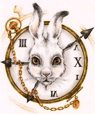 Alice in Wonderland's White Rabbit and clock character illustration via www.Facebook.com/HattersParty