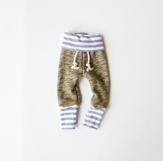 moss with stripe skinny sweats by childHOODS on Etsy