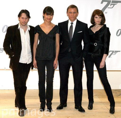 (left-right) Mathieu Amalric, Olga Kurylenko, Daniel Craig and Gemma Arterton pose for the media during a photocall to promote the new James Bond movie Quantum of Solace at Pinewood studios, London.