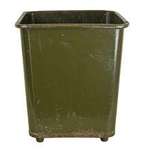 Olive Green Industrial Waste Paper Basket c1940s | Restored Lighting, Antiques & Vintage Finds from Rejuvenation