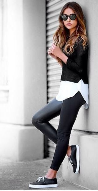 This casual leather leggings outfit is so cute with the sneakers!