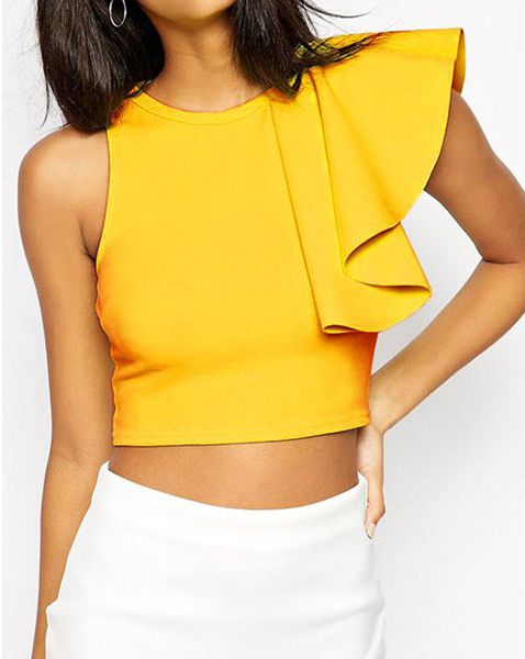Stylish Round Collar Sleeveless Flounced Solid Color Women's Crop Top #Yellow…