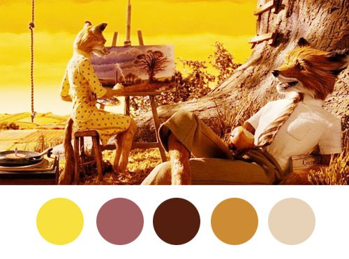 Wes Anderson Palettes, A Visualization of the Color Schemes That Wes Anderson Uses in His Films