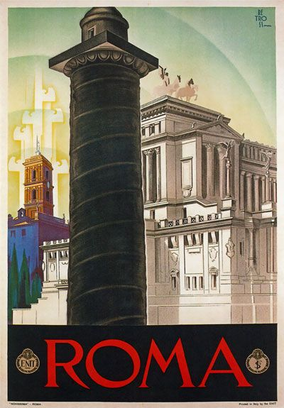 1930 Roma / Rome Italy Travel Poster Rome travel poster (Vittorio Emmanuel monument in the background behind Trajan's Column).