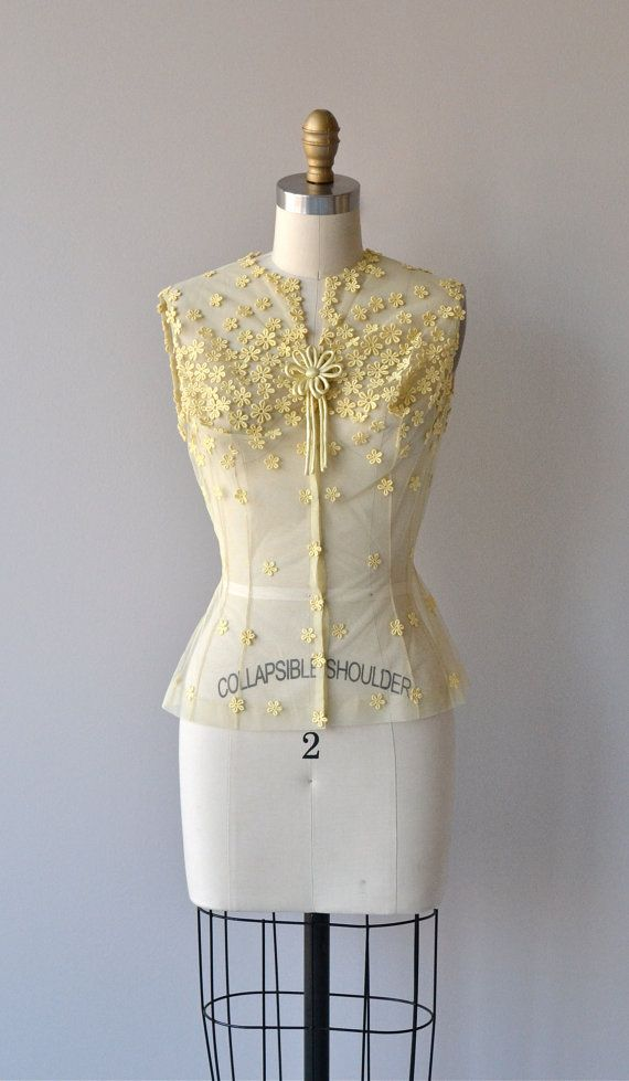 Jonquil blouse vintage fitted yellow blouse lace by DearGolden