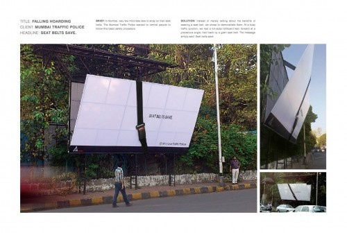 Seat belt safety advert in Mumbai - seat belt holding falling billboard.