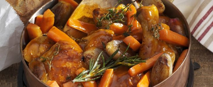"""""""Stewed Chicken with Potatoes and Carrots"""" (pollo in umido), a  Venetian version of chicken al' cacciotore that produces a sauce that is perfect with polenta. (you can add some mushrooms and peas near the end and adjust the herbs to your taste.)"""