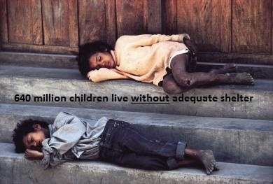 A horrific 640 million children live without adequate shelter. A lot of families in developing countries may be unable to provide for a child. Some unfortunate cases could result in abandonment (ophan), selling the child off for profit and many other scenarios which could explain the high numbers of inadequate shelter for so many children.