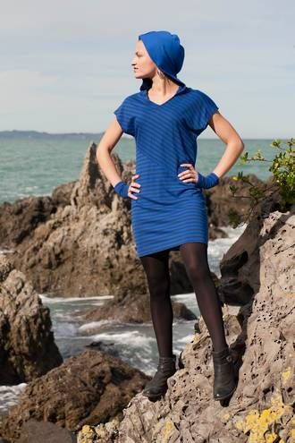 Vertical merino stripe tunic By www.chalkydigits.co.nz