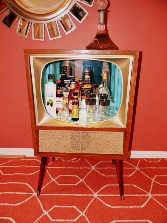 Perfect Vintage Tv Cabinet Bar : Custom Mid Century Vintage Tv Bar Cabinet Or Shelf