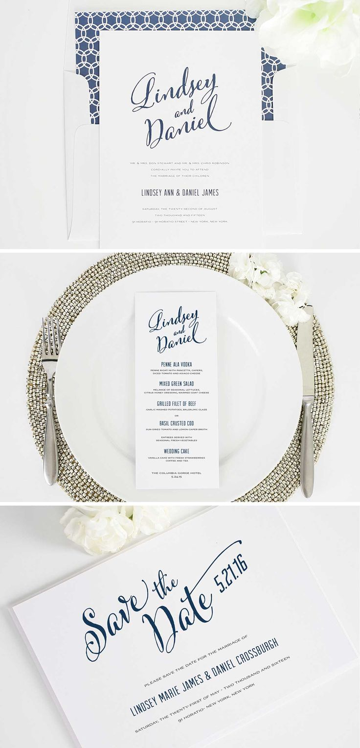 Navy Modern Script Wedding Invitation Suite - Save the Date, Menu, Wedding Invitation | http://www.shineweddinginvitations.com/wedding-invitations/modern-script-wedding-invitation