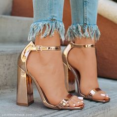 rose gold shoes with chunky heel