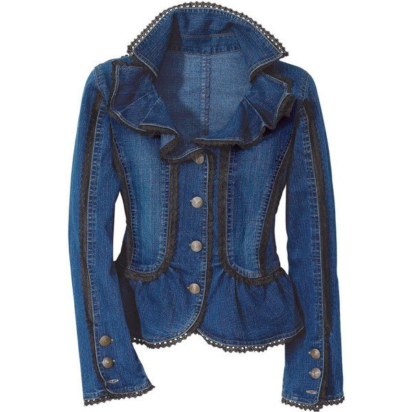 Ruffled Denim Jacket - New Age, Spiritual Gifts, Yoga, Wicca, Gothic,... by None, via Polyvore