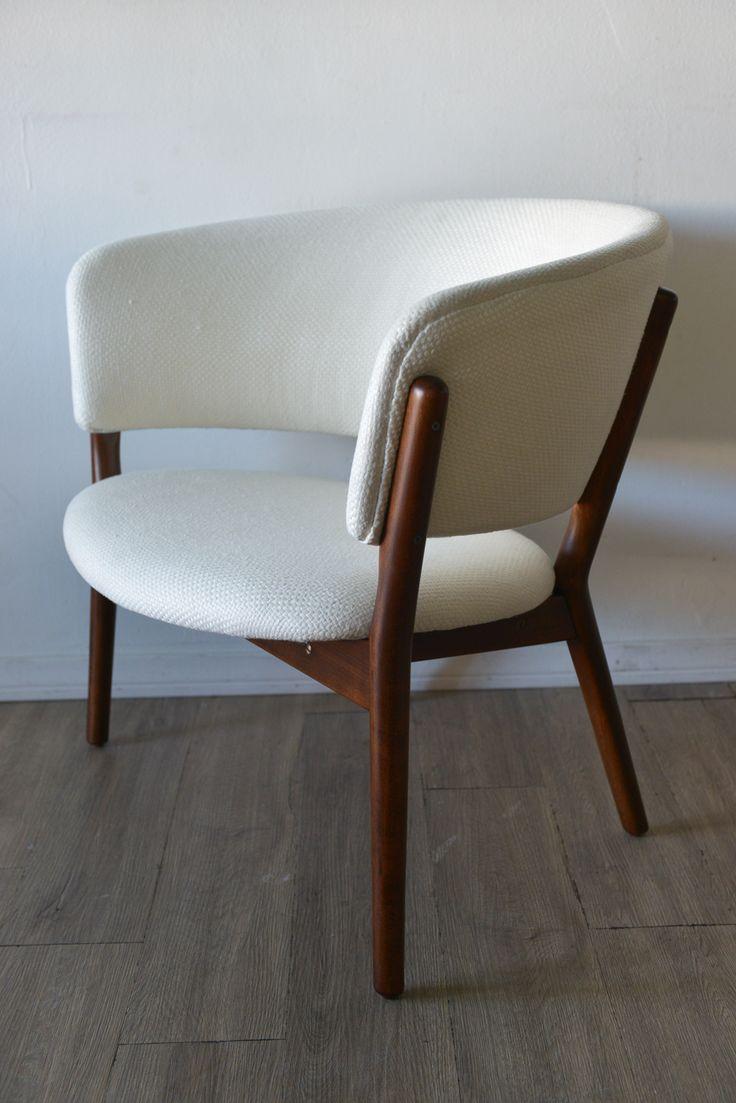 Modern light blue leather swivel lounge chair dove midcentury - Nanna Ditzel Chair Danish Modernmidcentury