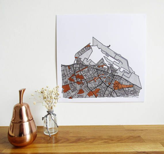 Leith Geo Map - Square Print This print is perfect for Lovers of Leith who like things with a twist. My geometric take on Leiths street map was originally created with fine liners on paper. The image is printed on 200 gsm smooth paper and hand finished with copper enamel paint which