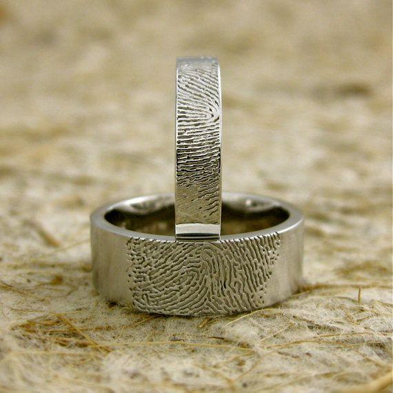 14K White Gold Fingerprint Rings or Thumb by AdziasJewelryAtelier,