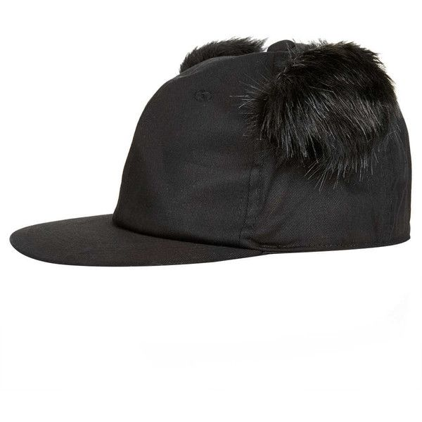 TOPSHOP Black Fluffy Ear Cap (10 AUD) ❤ liked on Polyvore featuring accessories, hats, black, cap hats, polyester hat, topshop hats and polyester cap