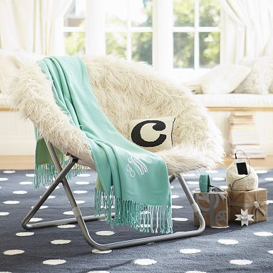 Ivory Fur Rific Hang A Round Chair With Silver Base