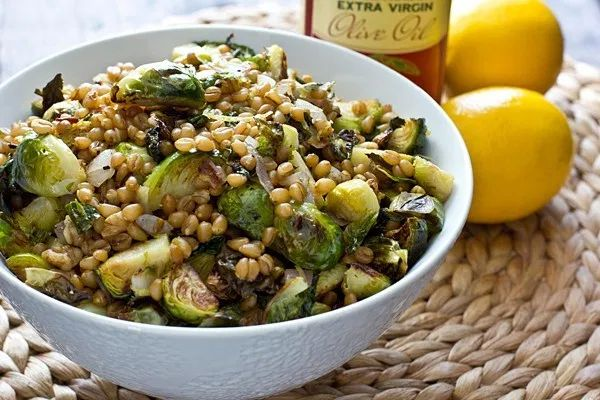Lemony Wheat Berries with Roasted Brussels Sprouts Recipe   – Taste This!