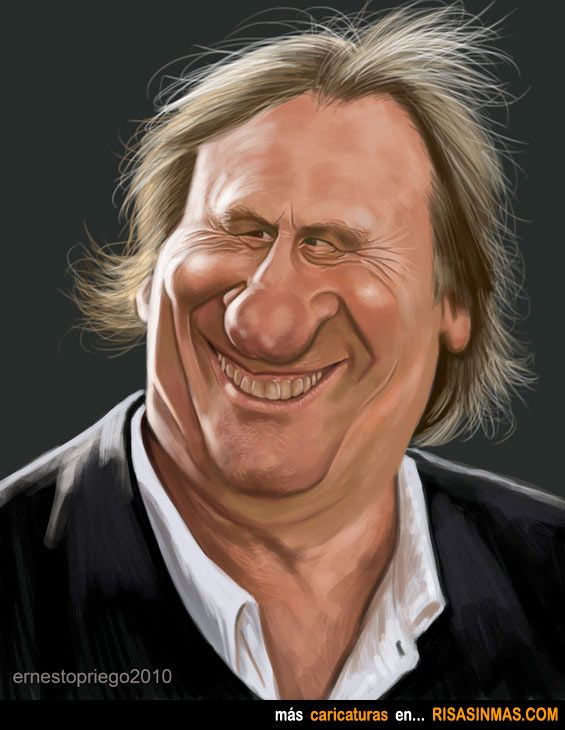 Caricatura de Gerard Depardieu.