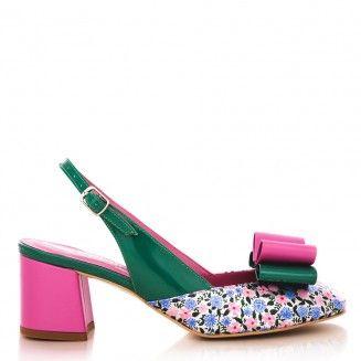 pantofi decupati la spate 1607 flori roz cu lac verde