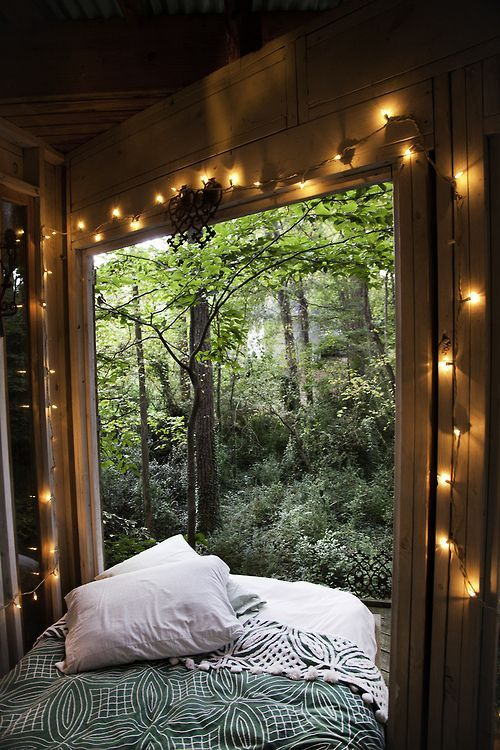forest, bed, fairy lights :).