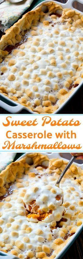 Sweet Potato Casserole with Marshmallows #southernfood #ThanksgivingRecipes #sweetpotato #casseroles