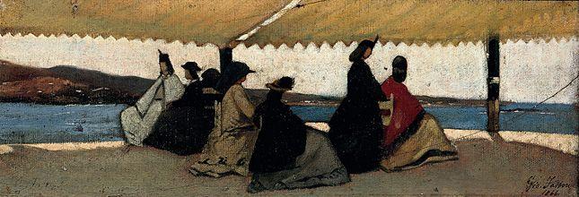 La Rotonde de Palmieri - 1866 - Giovanni Fattori ( 1828/1908) - huile sur bois - 12 x 35cm - FLORENCE Galleria d'Arte Moderna.