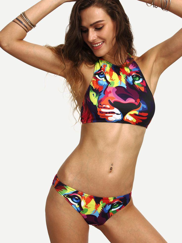Neckholder+Bikini+Set+bedruckt+mit+seitlichem+Bindebund+18.53