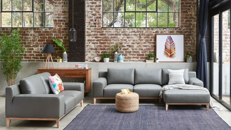 Amelia 3 Seater Leather Lounge with Chaise - Lounges - Living Room - Furniture, Outdoor & BBQs | Harvey Norman Australia