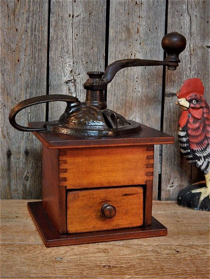 Stunning Antique Primitive Coffee Grinder Early 1900's Works! Farmhouse Kitchen #NaivePrimitive #NoMakersMarking