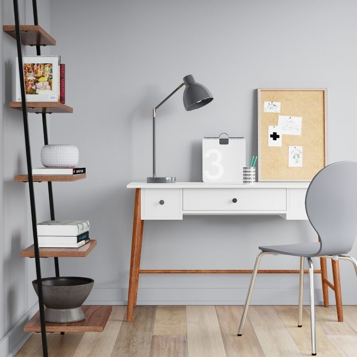 Amherst Wood Writing Desk With Drawers White Project 62 In 2020 Desks For Small Spaces Writing Desk With Drawers Leaning Bookcase