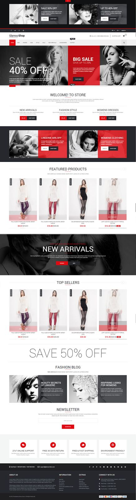 GlamourShop Responsive New #Prestashop 1.6 Theme + Blog #website #fashion #store #shop