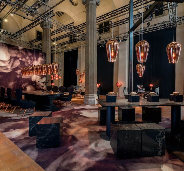 A number of designers created warm and welcoming installations at this year's #SaloneDelMobile that incorporated snacks and meals for visitors including @tomdixonstudio who took over the Rotonda della Besana and transformed each of the four wings into its own dining hall with menus inspired by the four elements. Photo courtesy of @caesarstoneus. by tmagazine