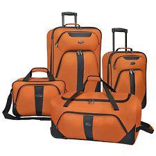 новый 4pc Оранжевый свет Роллинг Камера Чемодан вещевой мешок Tote Set