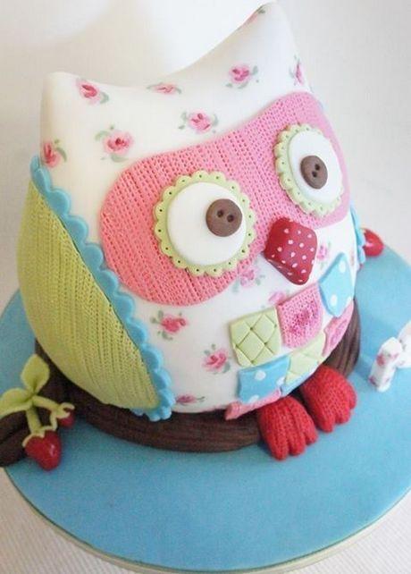 Owl Blossom Birthday Cake