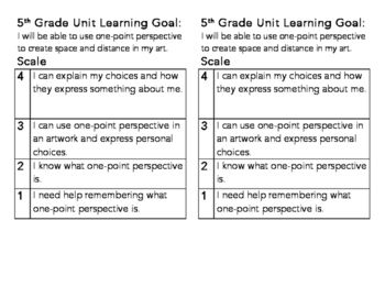 5th One Point Perspective Learning Goal and Scale by Michelle Kurasz | Teachers Pay Teachers